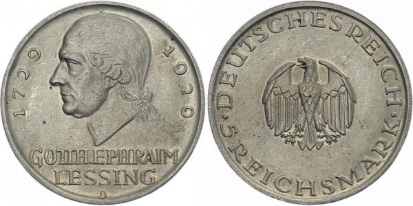 Weimarer Republik 5 Mark 1929 D Lessing