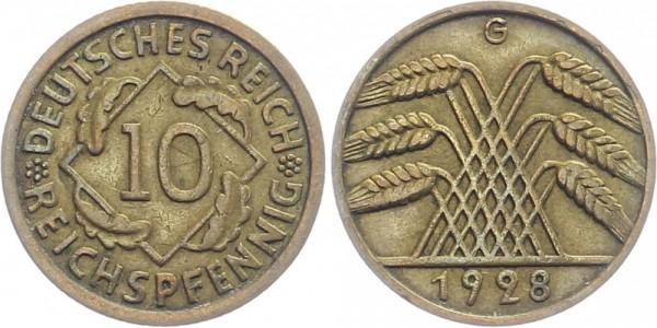 WEIMARER REPUBLIK 10 Reichspfennig 1928 G