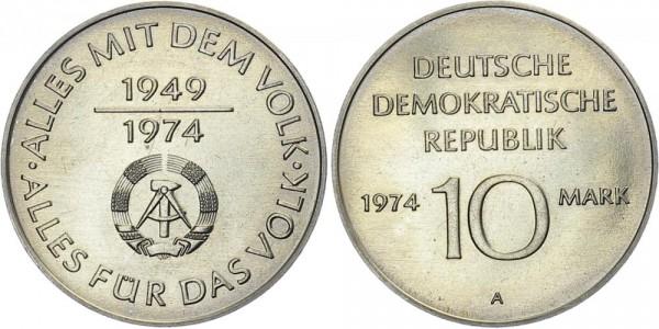 """DDR 10 Mark 1974 A 25 Jahre DDR """"Volk"""""""