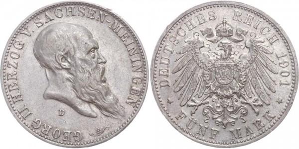 Sachsen-Meiningen 5 Mark 1901 - Georg II., Geburtstag