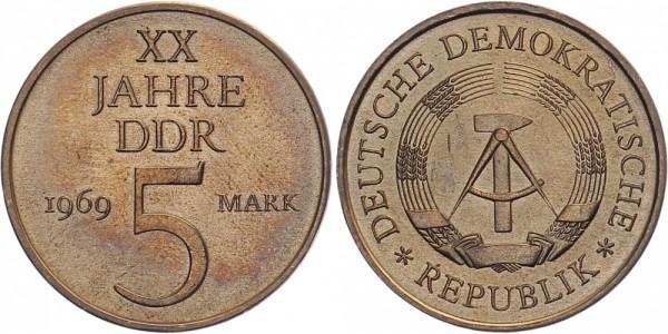 DDR 5 Mark 1969 A 20 Jahre DDR