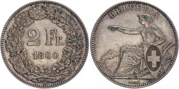 Schweiz 2 Franken 1860 B Kursmünze