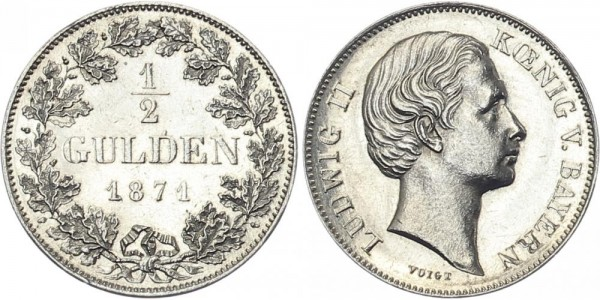 Bayern ½ Gulden 1871 - Ludwig II. ohne Scheitel