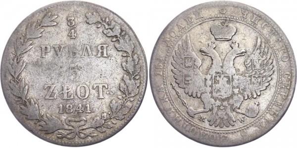 Russland für Polen 3/4 Rubel/5 Zlotych 1841 MW (Warschau) Nikolaus I., 1825-1855