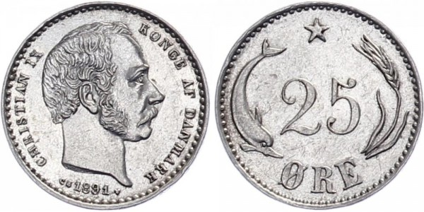 Dänemark 25 Öre 1891 - Kursmünze
