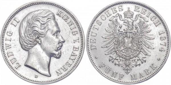 Bayern 5 Mark 1874 D Ludwig II.