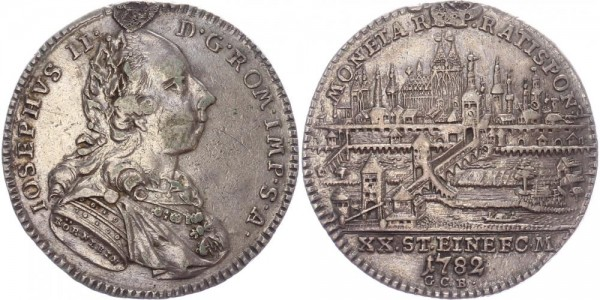 Regensburg 1/2 Taler 1782 - Joseph II., Stadtansicht