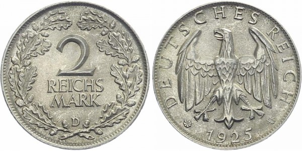 Weimarer Republik 2 Mark 1925 D Kursmünze