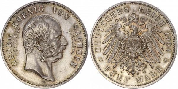 Sachsen 5 Mark 1904 E Auf den Tod, Georg