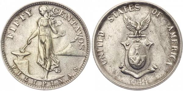 Philippinen 50 Centavos 1944 - Stehende Filipina mit Amboss