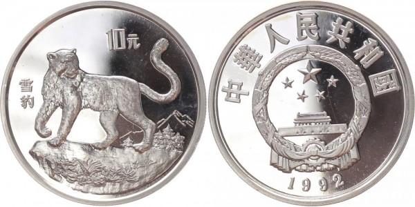 China 10 Yuan 1992 - Schneeleopard