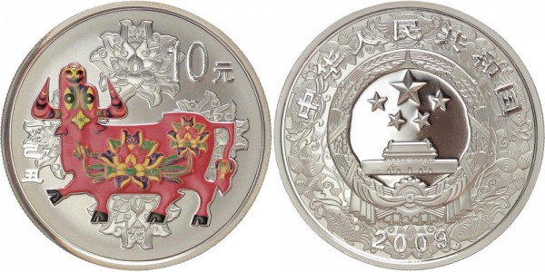 China 10 Yuan 2009 - Jahr des Ochsen