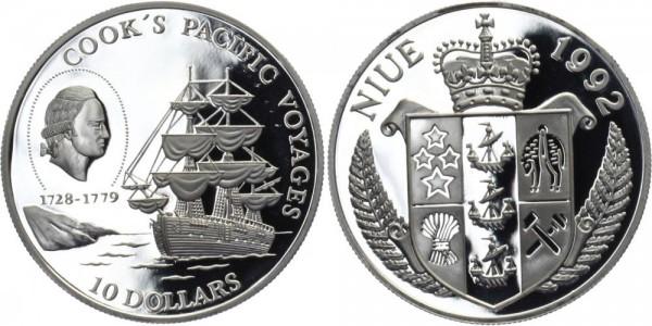 NIUE 10 Dollars 1992 - Cook's Seewege