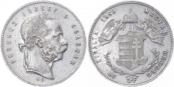 Ungarn 1 Forint 1869 Kremnitz Kursmünze