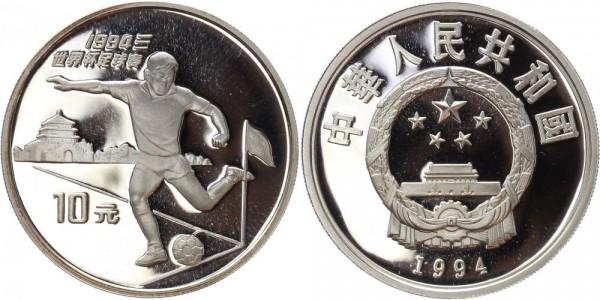 China 10 Yuan 1994 - Fußball Weltmeisterschaft