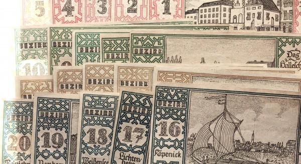 Berlin 20x 50 Pfennig 1921 - Berliner Bezirke, von 1-20