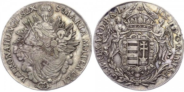 Ungarn 1/2 Madonnentaler 1782 B Kremnitz Josef II. ( 1765 - 1790 )