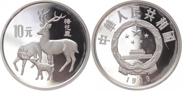 China 10 Yuan 1989 - Hirsche