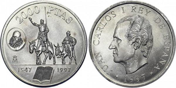 SPANIEN 2000 Pesetas 1997 - Zwei Krieger auf Pferden