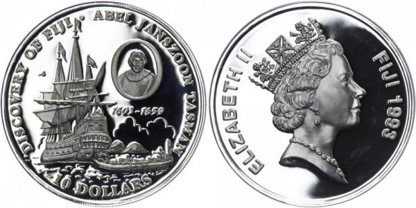 FIDSCHI INSELN 10 Dollar 1993 - Entdeckung Fidschis