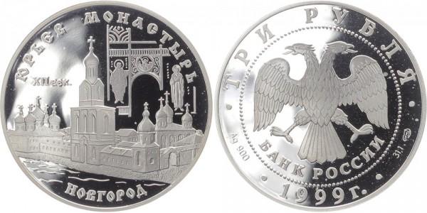 Russland 3 Rubel 1999 - Kloster in Novgorod