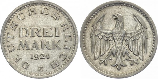 Weimarer Republik 3 Mark 1924 E Kursmünze