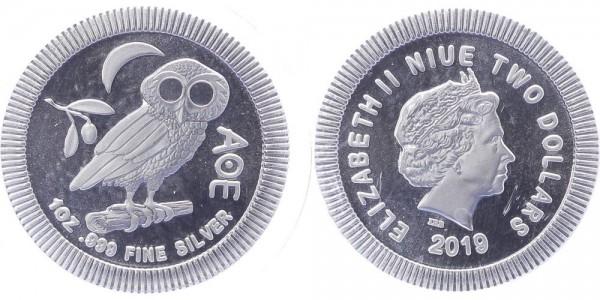Niue 2 Dollars 2019 - Eule der Minerva