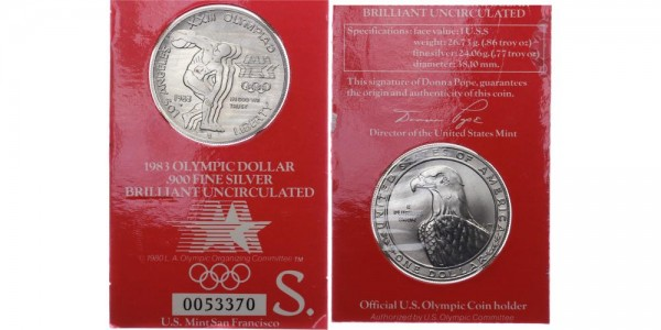 USA 1 Dollar 1983 San Francisco Olympiade 1984