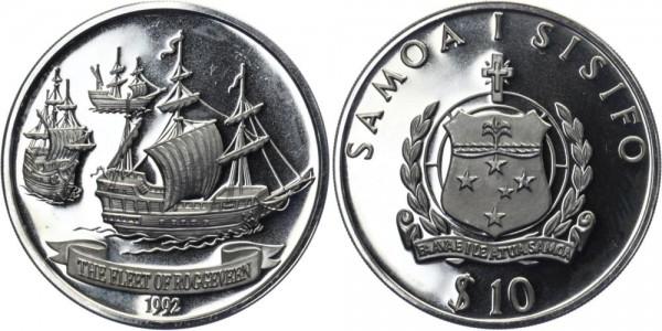 SAMOA 10 Dollars 1992 - Die Flotte von Roggeveen