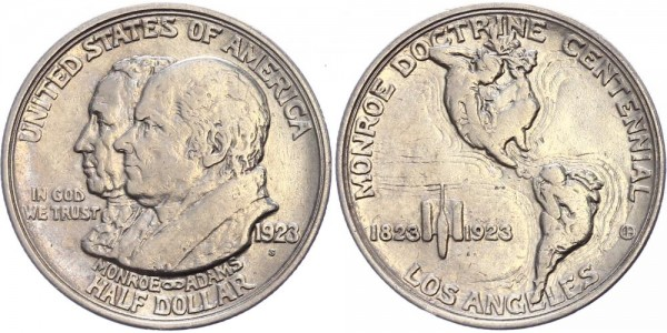 USA Half Dollar 1923 - Commemorative Coin: Monroe/Adams