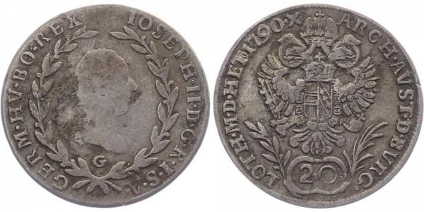 Haus Habsburg 20 Kreuzer 1790 G Josef II.