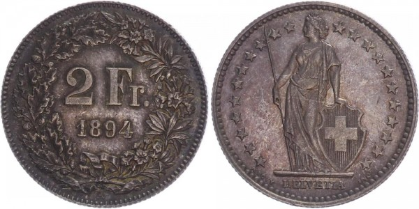Schweiz 2 Franken 1894 A Kursmünze