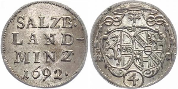 Salzburg 4 Kreuzer (Batzen) 1692 - Johann Ernst von Thun und Hohenstein