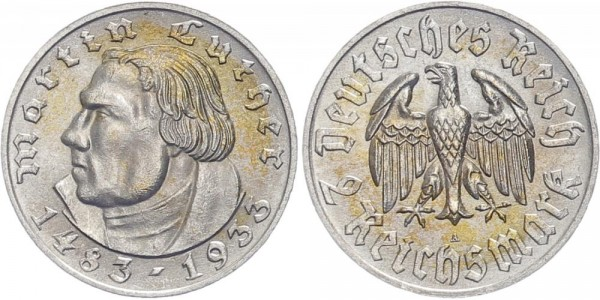 Drittes Reich 2 Mark 1933 A Martin Luther