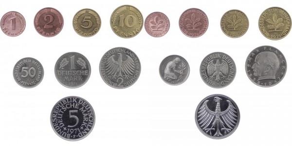 Kursmünzensatz 1 Pf - 5 DM 1971 F