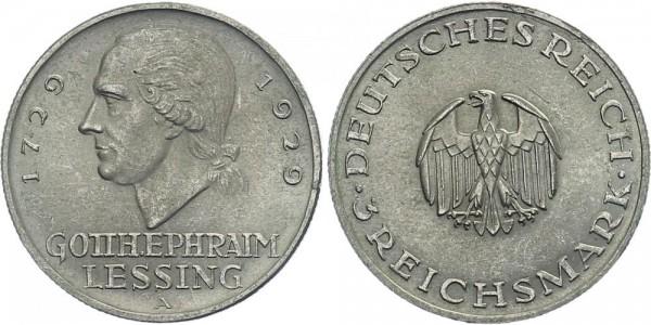 Weimarer Republik 3 Mark 1929 A Lessing