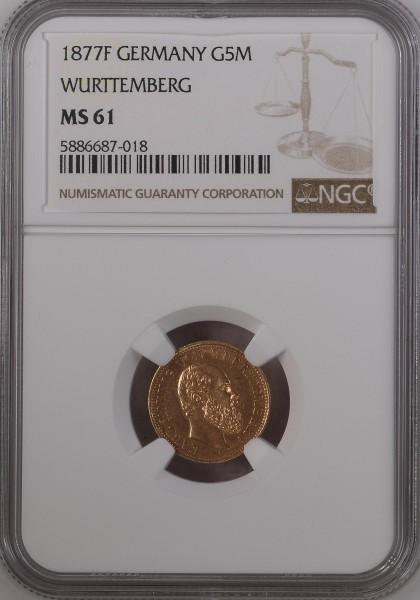 Württemberg 5 Mark 1877 F Karl von Württemberg 1864-1891