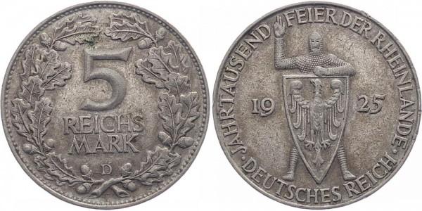 Weimarer Republik 5 Reichsmark 1925 D Rheinlande