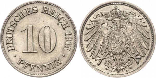 Kaiserreich 10 Pfennig 1915 D Kursmünze