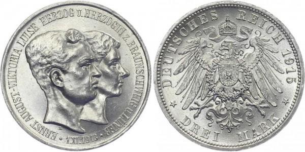 BRAUNSCHWEIG 3 Mark 1915 A Ernst August Regierungsantritt und Hochzeit