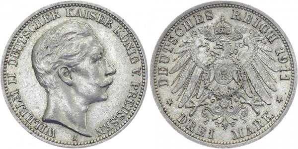 PREUSSEN 3 Mark 1911 A Wilhelm II.