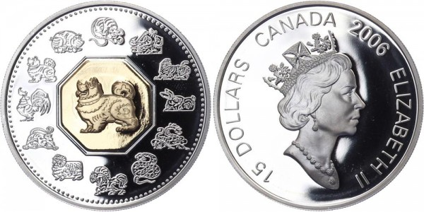 Kanada 15 Dollars 2006 - Jahr des Hundes