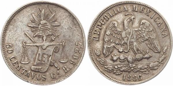 Mexico 50 Centavos 1886 - Guanajuato