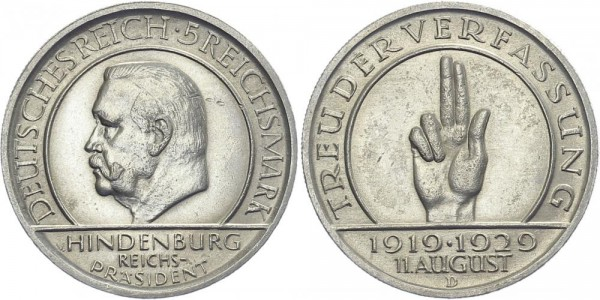 Weimarer Republik 5 Mark 1929 D Schwurhand