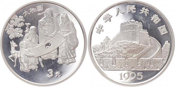 China 3 Yuan 1995 - Ying und Yang Konzept