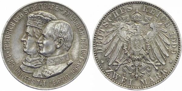 SACHSEN 2 Mark 1909 E Friedrich August III. Uni Leipzig