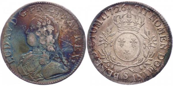 Frankreich 1 Ecu 1726 S (Reims) König Ludwig XV. ( 1715 - 1779 )