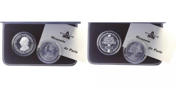 Frankreich 100 Francs 1987 - Set General La Fayette