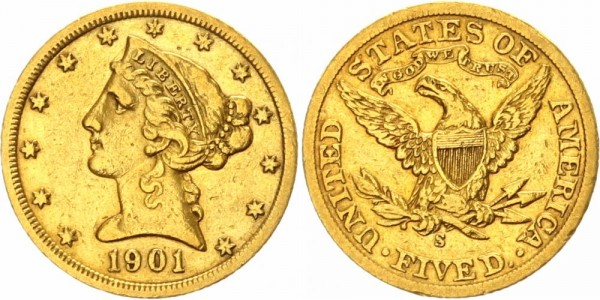 USA 5 Dollars 1901 S (San Francisco) Liberty Head