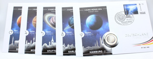 BRD 5x5 Euro 2016 A,D,F,G,J Planet Erde mit Polymerring